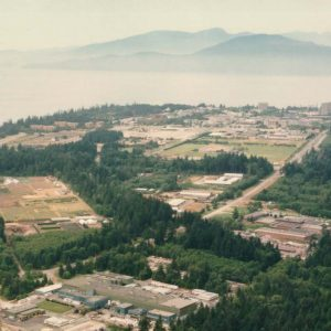 An aerial picture of the Farm in 1985 (TRIUMF).